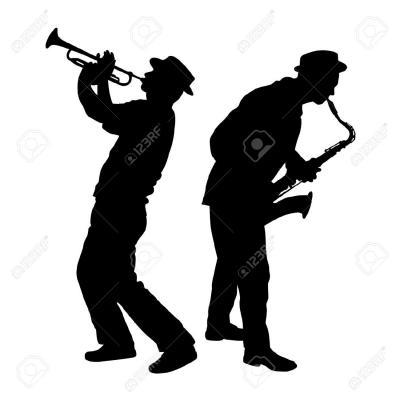 21932244 silhouette d un joueur de saxophone et trompette banque d images