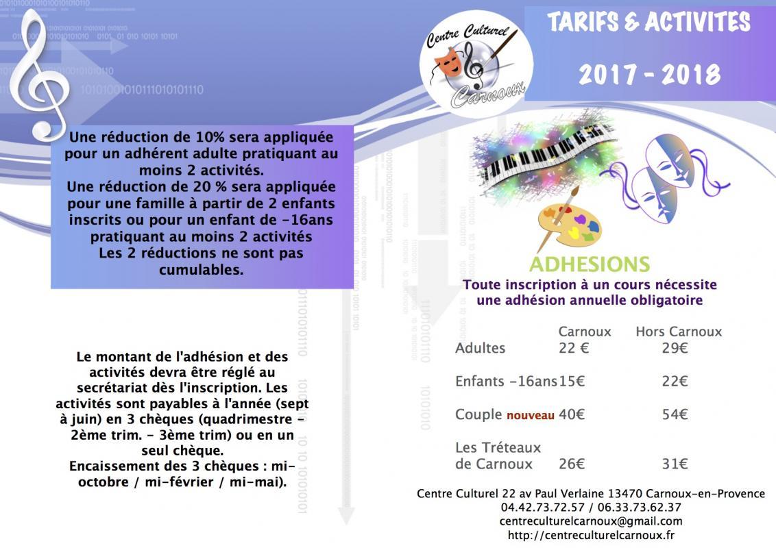 Tarif activite s 2017 2018v11 1sept